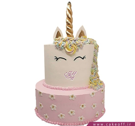 کیک های تولد دخترانه - کیک یونیکو اسب تک شاخ صورتی | کیک آف