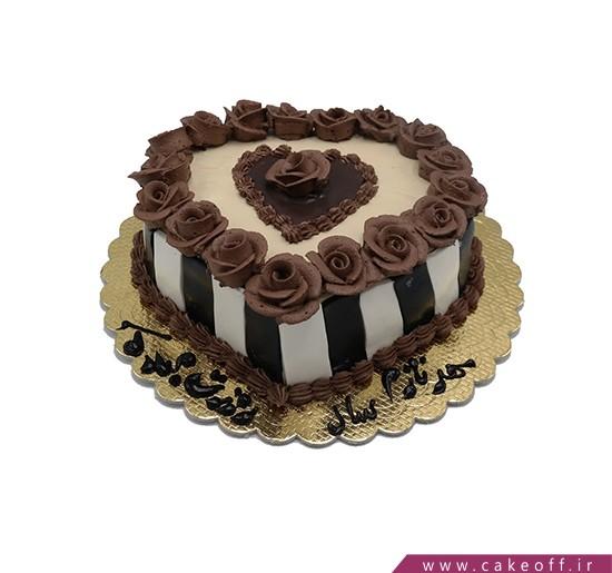 کیک قلب رز شکلاتی