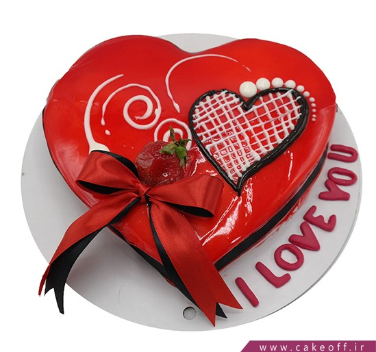خرید اینترنتی کیک در اصفهان - کیک قلب پاپیونی | کیک آف