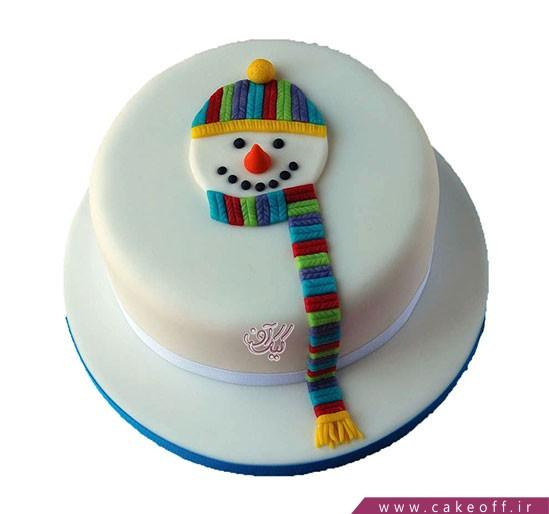 کیک آدم برفی رنگی رنگی