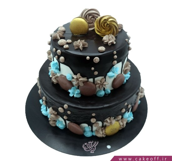 انواع کیک تولد - کیک طبقاتی چکه مشکی | کیک آف