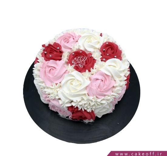 خرید کیک اینترنتی - کیک خامه ای باغ گل | کیک آف