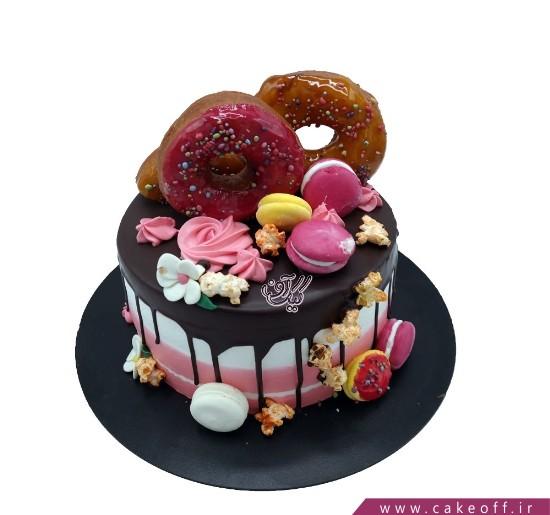 سفارش کیک اینترنتی - کیک تولد دونات صورتی | کیک آف