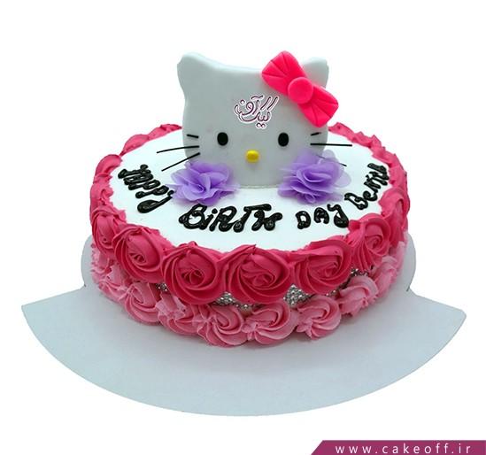 انواع کیک تولد - کیک کیتی در باغ گل | کیک آف