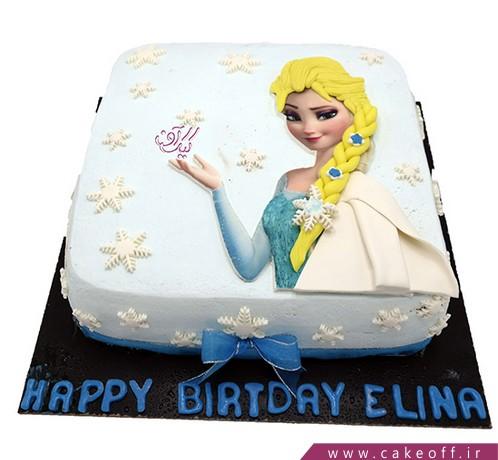 سفارش کیک تولد - کیک تولد دخترانه کیک السا مو طلا | کیک آف