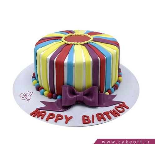 سفارش کیک فوندانت - کیک فوندانت گردون رنگین کمانی   کیک آف