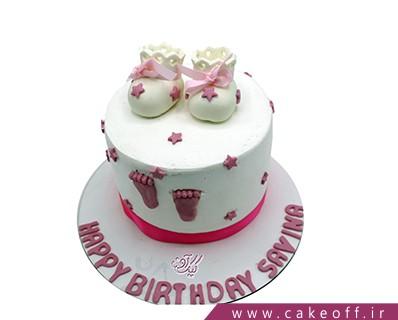 کیک تولد نوزاد- کیک جشن اولین قدم کوچولو | کیک آف