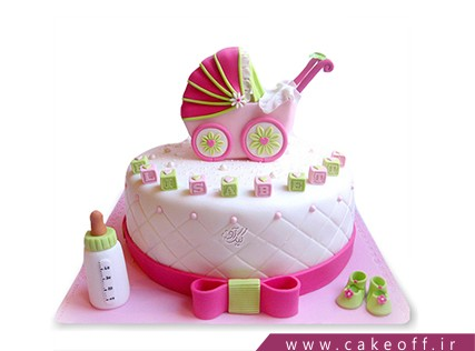کیک تولد نوزاد - کیک کالسکه نوزاد 1 | کیک آف