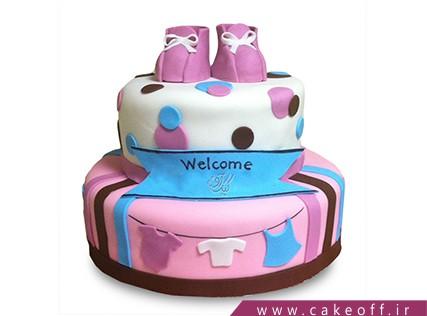 کیک تولد نوزاد - کیک جشن اولین قدم - کیک گام های صورتی | کیک آف