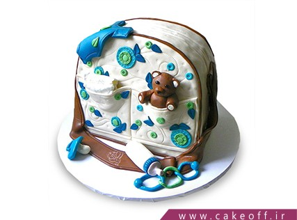 کیک تولد نوزاد - کیک جشن سیسمونی - کیک وسایل سیسمونی 1 | کیک آف