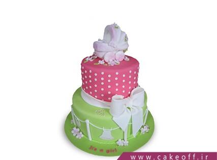 کیک تولد نوزاد - کیک جشن سیسمونی - کیک کالسکه نوزاد 3 | کیک آف