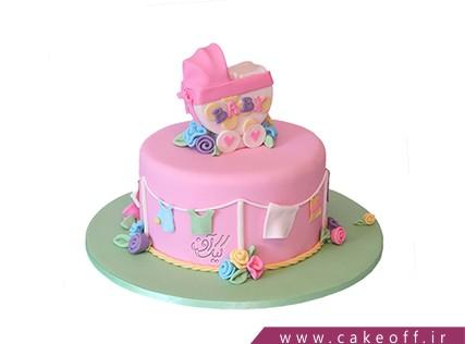 کیک تولد نوزاد - کیک جشن سیسمونی - کیک کالسکه نوزاد 4 | کیک آف