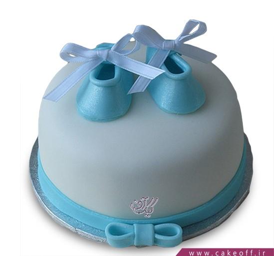 کیک تولد نوزاد - کیک جشن اولین قدم - کیک گام های آبی | کیک آف
