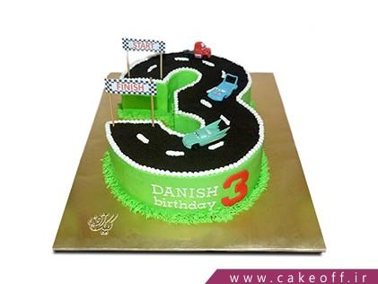 کیک تولد بچه گانه - عدد سه جاده ای  | کیک آف