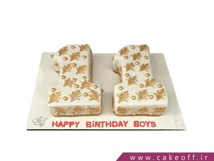 کیک تولد بچه گانه - کیک عدد یازده سفید-طلایی | کیک آف