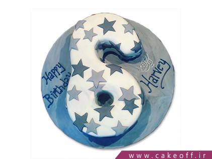 سفارش کیک اعداد - کیک عدد شش ستاره باران | کیک آف