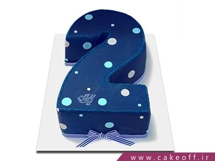 کیک تولد بچه گانه - کیک عدد دو خال سفید | کیک آف