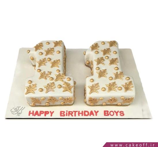 کیک عدد یازده سفید-طلایی