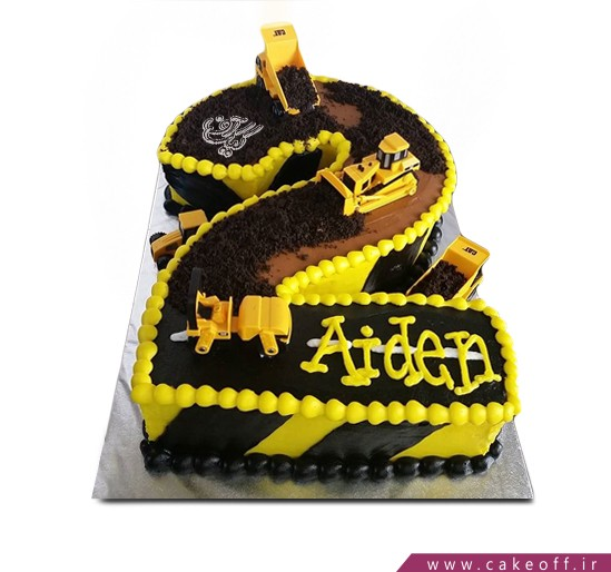 کیک تولد بچه گانه - کیک عدد دو جرثقیلی | کیک آف