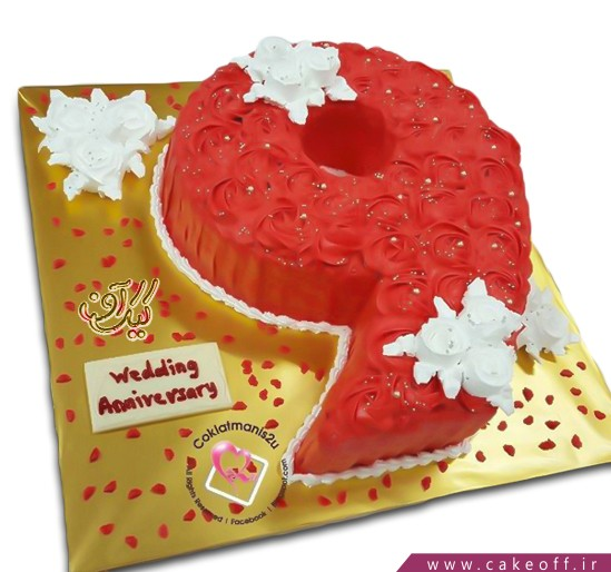 سفارش کیک اعداد - کیک عدد نه گل مخملی | کیک آف