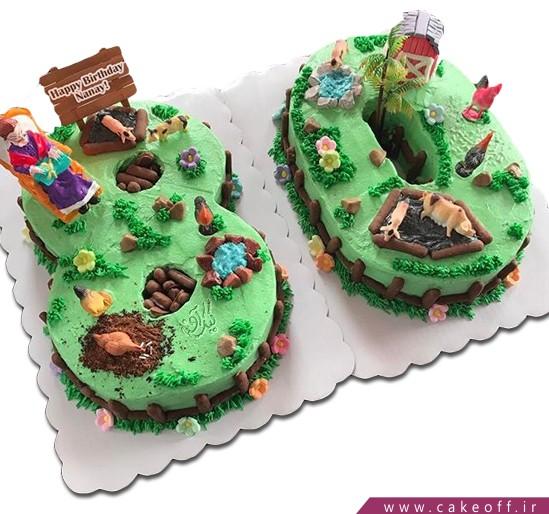 کیک تولد مادربزرگ - کیک عدد هشتاد مزرعه مادربزرگ | کیک آف
