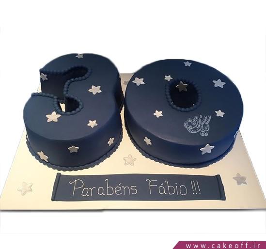 کیک تولد اعداد - کیک عدد سی شب پر ستاره | کیک آف