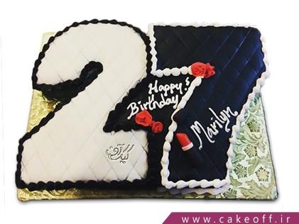 خرید کیک تولد در اصفهان - کیک عدد 27 سیاه و سفید | کیک آف