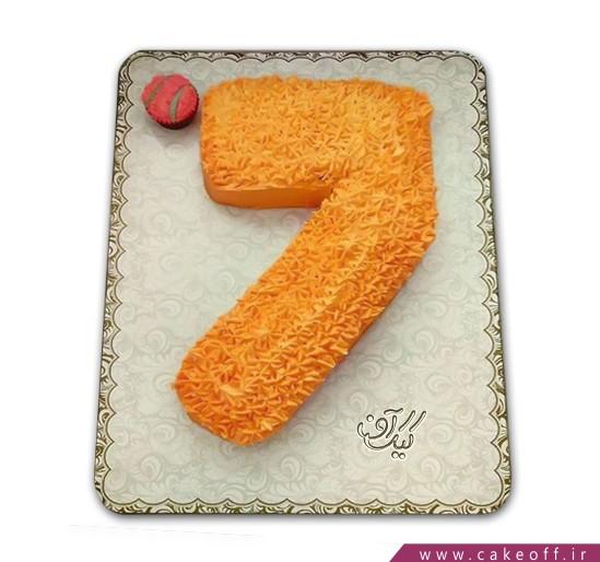 کیک تولد بچه گانه عدد هفت کرم پفکی | کیک آف