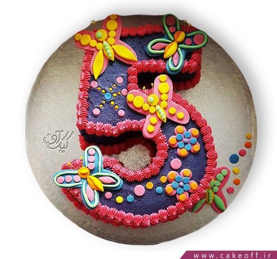 کیک عدد پنج پروانه باران