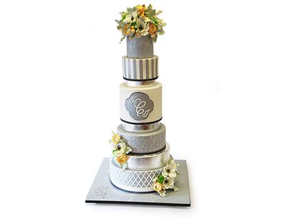 کیک عقد و عروسی - کیک نقره فام | کیک آف