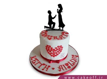 سفارش کیک ولنتاین - کیک عاشقانه فلورنس | کیک آف