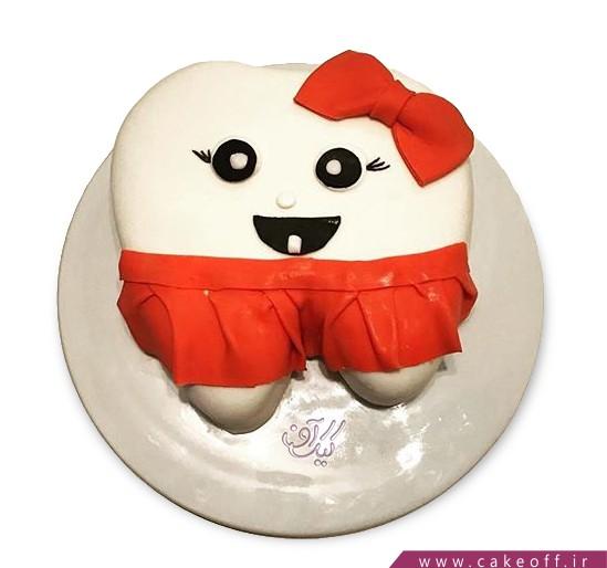 کیک جشن اولین دندان - کیک دندون دامن قرمزی | کیک آف