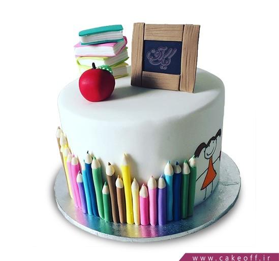 کیک اولین روز مدرسه - کیک کلاس نقاشی گل دختر   کیک آف