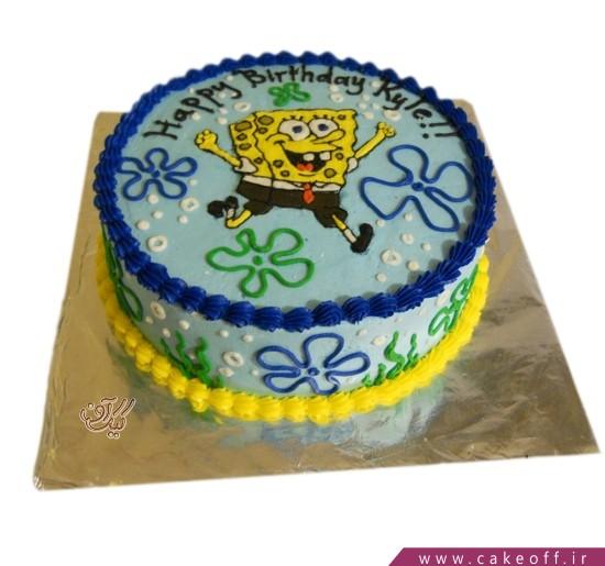 کیک تولد باب اسفنجی و حباب ها