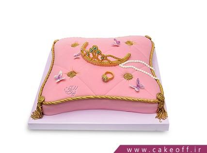سفارش کیک تولد در اصفهان - کیک تولد دخترانه تاج طلا | کیک آف
