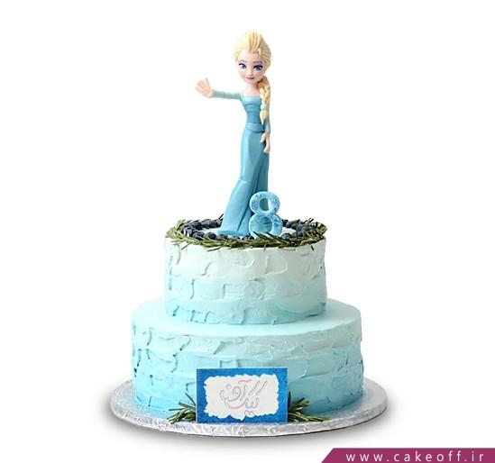کیک تولد دخترانه السا در چمن