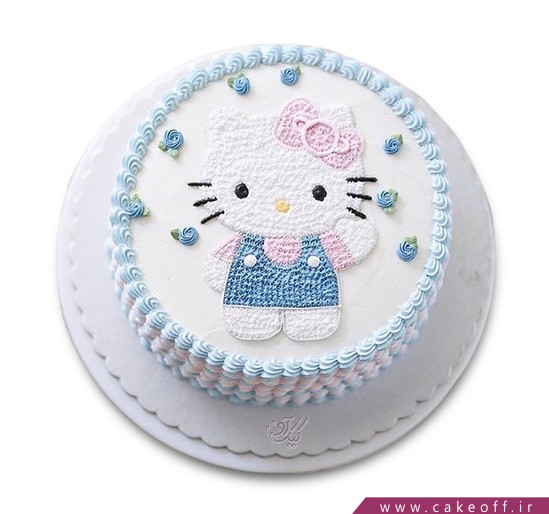 کیک کیتی پیراهن آبی