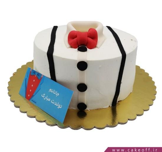 کیک پیراهن پاپیون قرمز