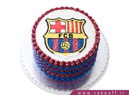 کیک فوتبالی آبی اناری پوشان | کیک آف
