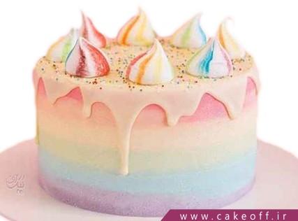 کیک تولد زیبا - کیک رنگین کمان چکه ای | کیک آف