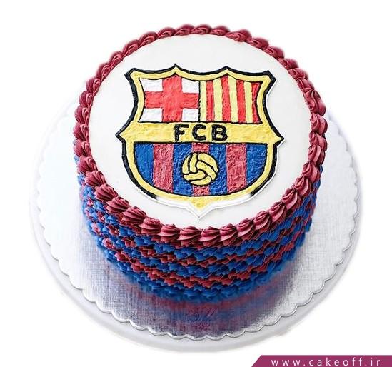 کیک فوتبالی آبی اناری پوشان