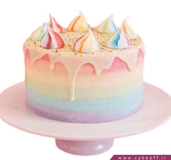 کیک رنگین کمان چکه ای