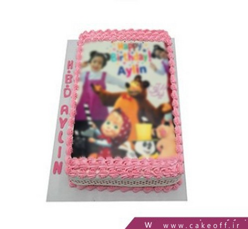 انواع کیک تولد - کیک ساده چاپی آیلین | کیک آف