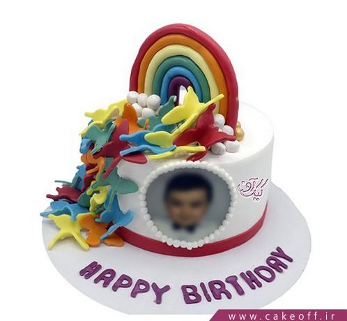 کیک چاپی رنگین کمان و پروانه های بهشتی | کیک آف
