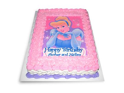 سفارش کیک تولد دخترانه - کیک چاپی سیندرلا | کیک آف