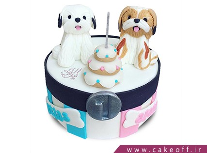 کیک تولد سگ - کیک دو سگ برفی | کیک آف