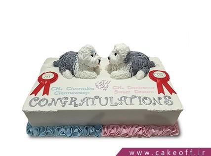 کیک حیوانات - کیک دو سگ ملوس | کیک آف