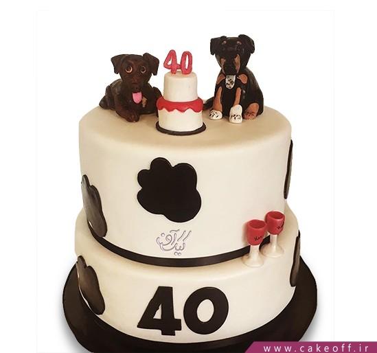 کیک تولد حیوانات - کیک دو سگ قهوه ای | کیک آف