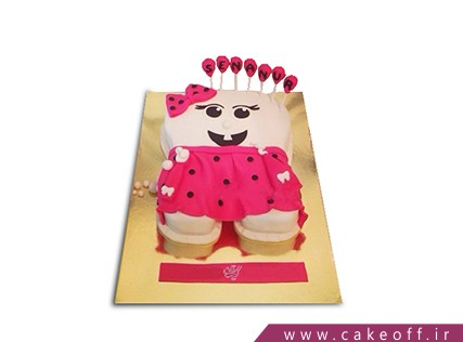 کیک جشن دندونی - کیک دندون پیراهن سرخابی | کیک آف