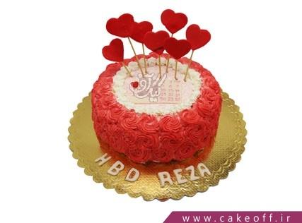 انواع کیک تولد - کیک عاشقانه تاریخ خوشبختی | کیک آف